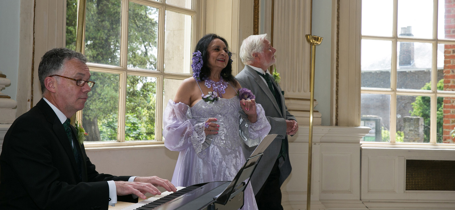 Connaught Opera performers, Maria, Glenn and Nicholas, perform at Burgh House